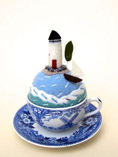 Mimi Kirchner's tea cup felt pin cushion.