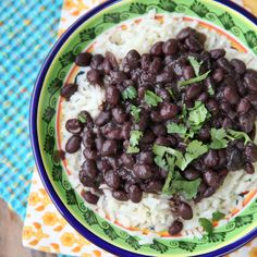 Simple recipe for delicious black beans and rice, made in a pressure cooker.
