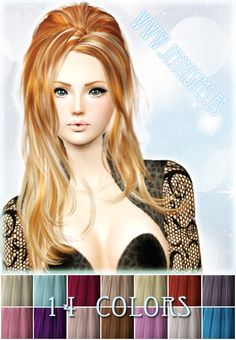 Hair 14 Colors Palet Vol 2 by Jennisims - Sims 3 Downloads CC Caboodle