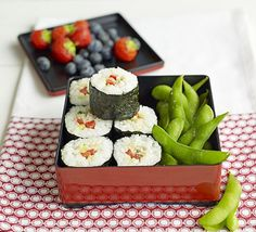 This Asian-inspired lunchbox with mackerel sushi, edamame beans and fresh fruit will keep you going all afternoon