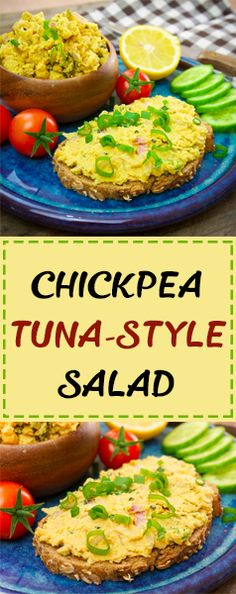 Chickpea Tuna-Style Salad - an amazing healthy alternative to the traditional version! Delicious, creamy, protein-packed, and so so good for you! Smash it onto your bagel, salad or eat it by the spoon!