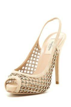 Valentino Peep Toe Jewel Embellished Pump by Designer Shoe Shop on @HauteLook
