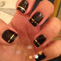Black and Gold Nails! Us Nails, Gold Nails, Bridesmaids, Bridesmaid Dresses, Nail Ideas, Hair Makeup, Nail Designs, Hair Beauty, Accessories
