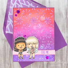 This project uses the Icons set, Mosaic stencil, and Amethyst Glitter Gloss by Kindred Stamps. Check out my blog for more details on how I made this card!