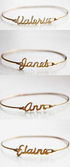 Custom Name Bracelets for bridesmaids gifts, how cute this idea is!
