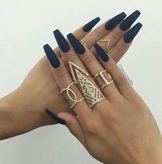 Navy Blue #blue #nails #nailporn #coffinnails #nailart #naildesigns