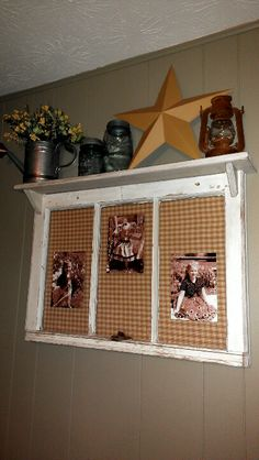 Added shelf to Old Window different fabric and this could be very cute. Window Shelves, Window Panes, Old Window Frames, Corner Shelves, Shelf, Old Windows, Vintage Windows, Windows And Doors, Primitive Decor