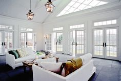 Inside of the pool house.  Crisp, clean and flooded with natural light!