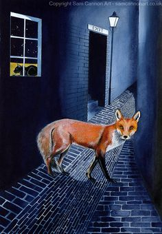 Fox in the alleyway. Cat in the window. #foxed #foxart #vulpes #vulpesvulpes #foxwatercolour #town Amazing Artwork, Cool Artwork, Watercolor Fox, Alleyway, Fox Art, Colored Pencils, Pencil Drawings, Window, Paintings