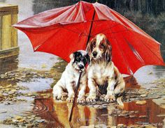 Antique Painting By William Henry Trood Of Two Dogs Under An Umbrella In The Rain, Freinds, Digital, PDF