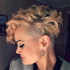 Short Shaved Haircuts, Curly Short Lucille Hair, One Side Shaved Pixie, Pixie Hairtyles Short One. Haircuts For Curly Hair, Undercut Hairstyles, Pixie Hairstyles, Short Hairstyles For Women, Pixie Haircuts, Short Hair Cuts For Women Edgy, 27 Piece Hairstyles, Short Shaved Hairstyles, Curly Undercut