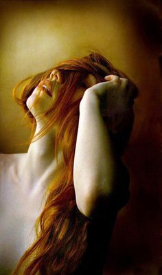 the beauty of the female neck & shoulders, red hot female, wild red hair over face looking up, arm up on hair, yellow lighting Beautiful Redhead, Beautiful People, Auburn, Ginger Girls, Redhead Girl, Pale Skin, Ginger Hair, Shades Of Red, Freckles