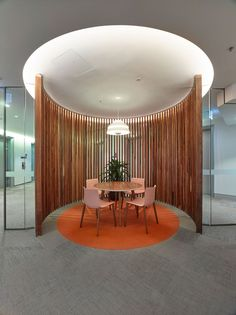 The Jemena New South Wales Sydney office is located across 7 levels at 99 Walker Street in North Sydney. Breakout Area, Round Ottoman, Workplace Design, Solid Oak, Contemporary Design, Sydney, Lounge, Table, Woods