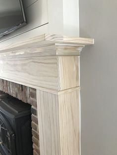 A Custom DIY Fireplace Mantel Beneath Our Shiplap – Old Town Home, - Fireplace mantels Diy Fireplace Mantel, Tv Over Fireplace, Build A Fireplace, Fireplace Update, Brick Fireplace Makeover, Shiplap Fireplace, Farmhouse Fireplace, Fireplace Remodel, Fireplace Surrounds