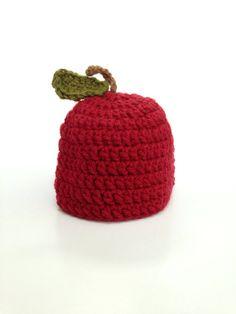 Crochet apple hat newborn through child great for newborn photo prop apple picking fall photos fall baby halloween newborn