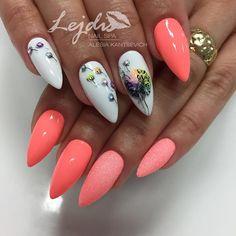 Spring Nail Designs - My Cool Nail Designs Goth Nails, Bling Nails, Square Nail Designs, Cool Nail Designs, Deluxe Nails, Nagel Bling, May Nails, Fire Nails, Nail Designs Spring