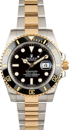Manufacturer: Rolex   Model: Submariner 116613   Serial/Year: V 2008-2009   Grade: (What's This?) II   Gender: Men's   Features: Automatic 3135 movement w/ date, waterproof screw-down crown, unidirectional rotatable Cerachrom (ceramic) time-lapse diver's bezel, scratch-resistant sapphire crystal   Case: Stainless steel and 18k Gold (40mm), inner reflector ring engraved w/ serial number   Dial: Black w/ luminescent hands and hour markers   Bracelet: St...