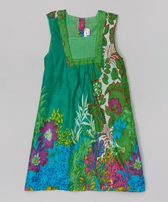 Look at this Yo Baby Green Floral Swing Dress - Toddler