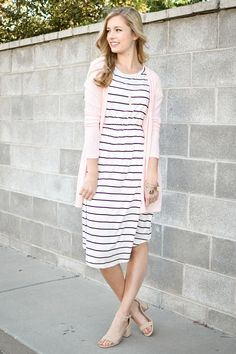 Chelsea Stripe Fit and Flare Dress in Ivory
