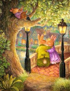 Couple On The Bridge~ Violin Serenade~ Holly Pond Hill Collection~ Susan Wheeler.