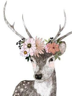 --------------------------------- Deer Print - The Gathered Store Art And Illustration, Hirsch Illustration, Illustrations, Deer Art, Moose Art, Flower Crown Drawing, Art Graphique, Watercolor Animals, Grafik Design