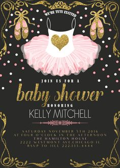 Tutu Baby Shower Invitation, Glitter Tutu Invitation, Pink Tutu Baby Shower  Invitation, Cheap