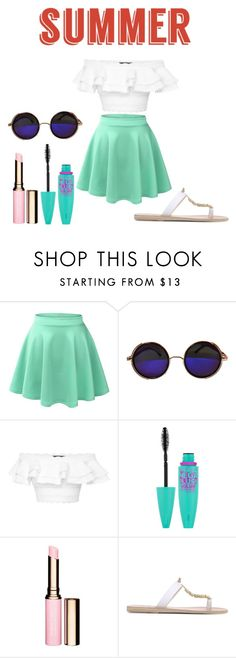 """""""summer"""" by lyra2003 ❤ liked on Polyvore featuring LE3NO, Alexander McQueen, Maybelline, Clarins and Ancient Greek Sandals"""