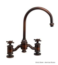 Hampton suite bridge faucet from Waterstone Faucets a twist on a timeless design with a elegance of a bygone era. Crafted with a two handle bridge design. Copper Kitchen Faucets, Wall Mount Kitchen Faucet, Brass Shower Head, Pot Filler Faucet, Oil Rubbed Bronze Faucet, Newport Brass, Stone Sink, Bridge Design, Black Oil