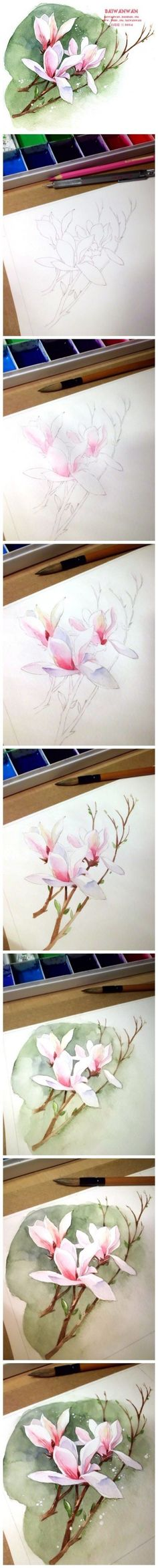 20 Delicate Colorful Watercolor Flower Painting Tutorials In Images-HOMESTHETICS (7)