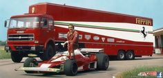 Clay Regazzoni -1976 Fleischmann #Ferrari (Nikki Lauda) and with the Airfix Transporter! Not the Ford C900 but i guess a UNIC to haul it all.