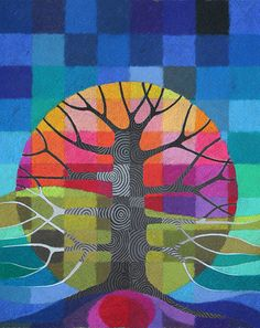 Order / Disorder III print by StellaViolet on Etsy Rainbow Painting, 3d Painting, Mini Canvas Art, Canvas Wall Art, Geometric Trees, 7th Grade Art, Artists For Kids, Middle School Art, Fantasy Illustration