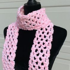 """Handmade petal pink & white scarf Length =67""""(approx). Width=3.75""""(approx). Crocheted (Twzo) Handmade Accessories Scarves & Wraps"""
