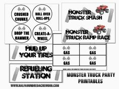 free  printables monster truck   truck thank you cards monster truck party food drink game labels and ...