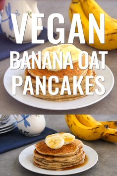These vegan banana oat pancakes are such an easy gluten free breakfast They have a great texture and delicious banana flavor and they cost just 58 per serving pancakes banana vegan Banana Oat Pancakes, Banana Oats, Banana Gluten Free Pancakes, Vegan Oatmeal Pancakes, Banana Bread, Vegan Foods, Vegan Desserts, Vegan Recipes, Vegan Pancake Recipes