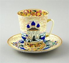 """Lomonosov """"Russia"""" Cup and Saucer, hand painted, gilt, designed by A… Coffee Cups And Saucers, Teapots And Cups, Tea Cup Saucer, China Cups And Saucers, Teacups, Catherine La Grande, Russia Cup, Antique Tea Cups, Cuppa Tea"""