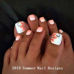 21 beautiful wedding pedicure ideas for brides: summer wedding nail art; Pretty Toe Nails, Cute Toe Nails, My Nails, Coral Toe Nails, Blue Nail, Pretty Toes, Stiletto Nails, Toe Nail Color, Toe Nail Art