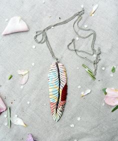 Iberis leaf unique necklace. Handmade colorful feather by Marinush