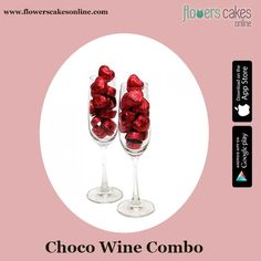 #FlowersCakesOnline #GiftHamper  What could be better than wine glasses and chocolates together?
