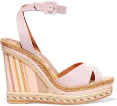 Valentino Leather and Striped Canvas Espadrille Wedge Sandals
