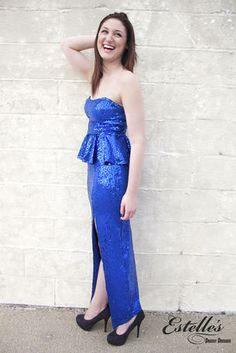 Ruby Rox - 1CDW10062I A royal blue sequin dress with a peplum bodice at Estelle's Dressy Dresses! #estellesdressydresses