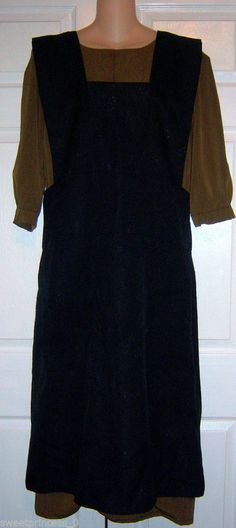 "Amish Dress & Full Pinfore Apron 41""Bust /37""Waist Amish Handmade Lancaster, Pa."