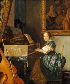 Jan Vermeer - Une dame assise au virginal