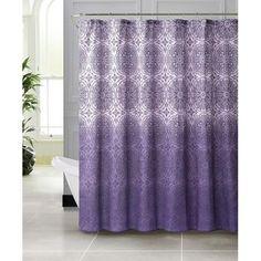 Vienna Purple Embossed Microfiber Shower Curtain  ...
