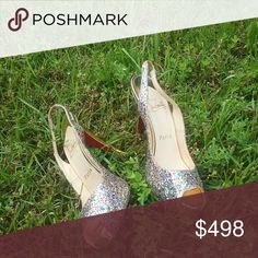 Christian Louboutin Sparkling Heels STUNNING, glittering gold Loubs with multi-color specks for an amazing price--I paid over 1,000 USD for these beauties! Worn less than 10x. EUC.  👠PRICE FIRM! 👠 SORRY, NO TRADES. 👠ALL ORDERS SHIP WITHIN 24 HRS OF PURCHASE! Christian Louboutin Shoes Heels