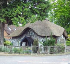Thatched Cottage at Sneyd Park, Bristol, England. Storybook Homes, Storybook Cottage, Irish Cottage, Cute Cottage, Tudor Cottage, Cottages And Bungalows, Cabins And Cottages, Unique Cottages, Country Cottages