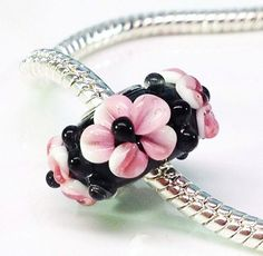 Pink and black Murano glass flower beads fits by Emmalishop