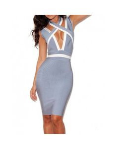 Amazon.com: Whoinshop Women's V Neck Colorblock Strappy Celebrity Bandage Dress: Clothing