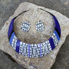 Collier torque cane graphique noire et blanche + violet en pâte polymère