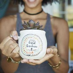 """Cup of Sunshine Happy Mug - With a handcrafted feel and generous 16-ounce size, this """"happy"""" ceramic mug features """"cup of sunshine"""" saying and a suntprinted on the inside bottom. Perfect for gifting. Dishwasher and microwave safe."""