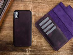 Iphone Leather Case, Iphone Wallet Case, Iphone 7 Plus Cases, Leather Wallet, Phone Case, Watch Bands, Money, Purple, Fit